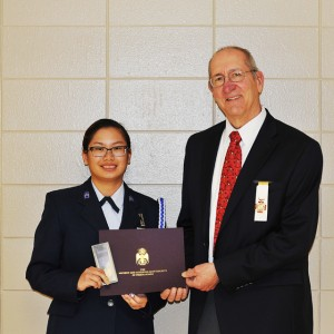 Award presented to JROTC Cadet, Jordyn Lee, by Ill. Bro. Jerry J. Johnson, 33°