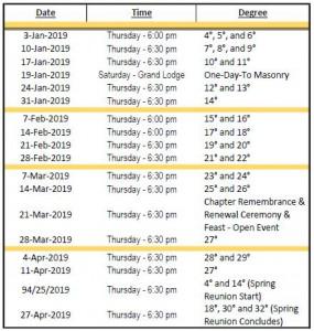 2019 Degree Calendar